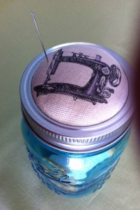 Completed Mason Jar Pin Cushion